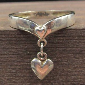 Size 6 Sterling Silver Heart Love Charm Band Ring